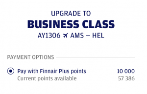 Finnair Business Class Upgrade
