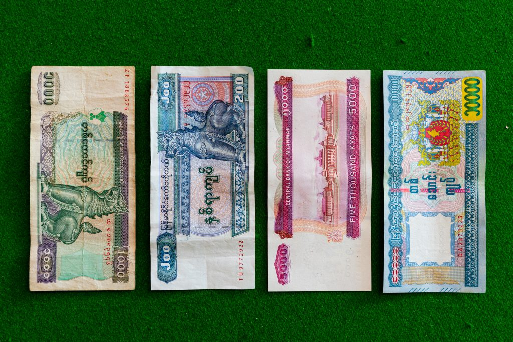 Myanmar Kyat bankbiljetten