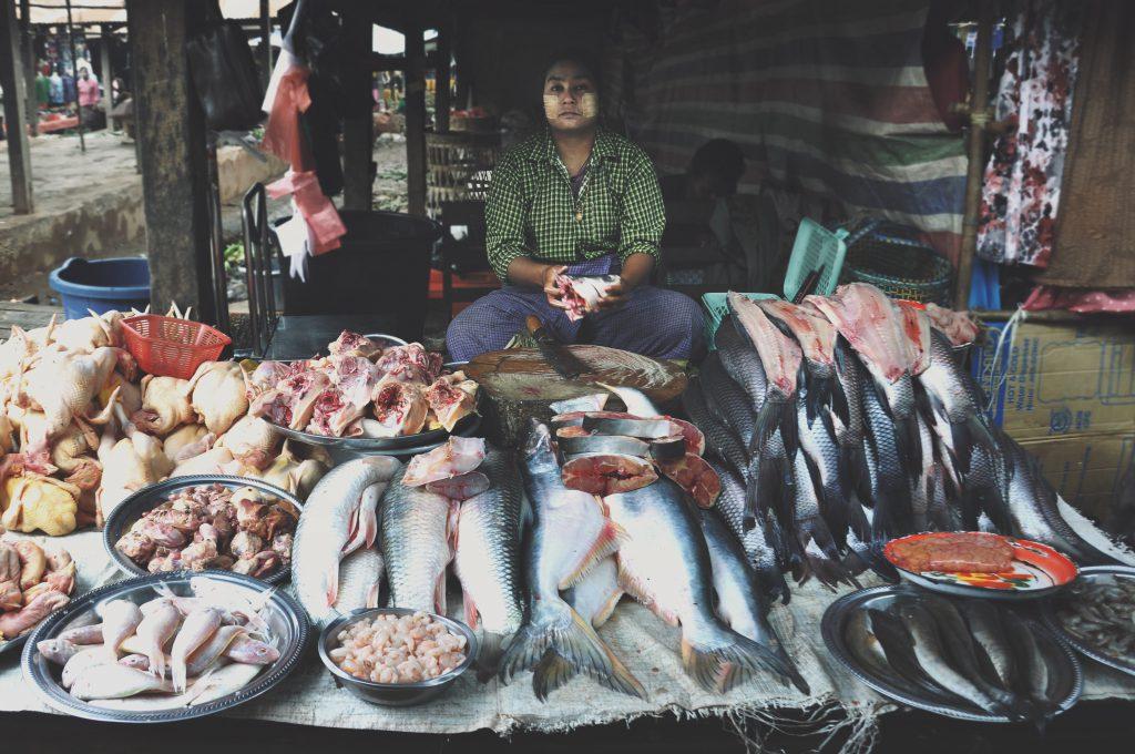 Verkoopster van vis in Myanmar