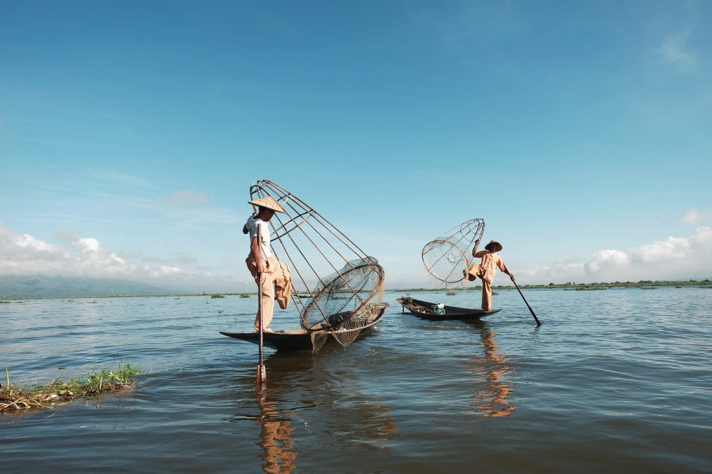 Vissers op het Inle Meer in Myanmar